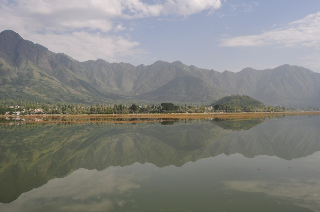 Dal Lake reflecting the Himalayas
