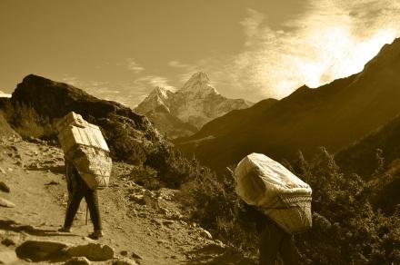 Amadablam & Sherpas (sepia)