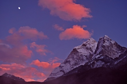 Amadablam with moon sunset